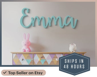 """Wooden Name sign 12"""" to 55"""" wide! Kids large Wooden name sign letters Baby Name Wooden nursery decor wooden wall art above a crib"""
