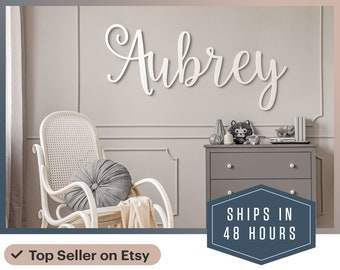 """Wooden Name sign 12"""" to 55"""" wide! - Custom Name Sign - Nursery Decor - wall art above a crib - Baby Gift - Baby Shower - Cursive font"""