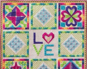 Canvaswork Embroidery Design - Love Is All You Need - INSTANT DOWNLOAD