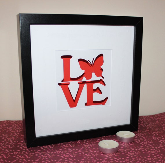 3d Red Love Butterfly Paper Cut Shadow Box Frame Decorate Etsy