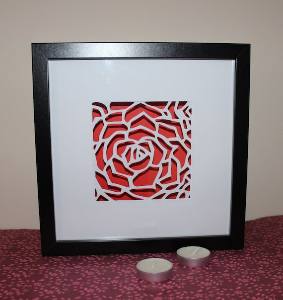 40D Red Rose Papercut Shadow Box Frame Romantic Gift For Her Etsy Fascinating How To Decorate Shadow Boxes