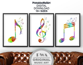 Music Notes Printable Digital Download Nursery Music Print Watercolor Green Teal W01830 Music Symbols Wall Art Gift For Musician Poster