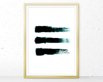 Abstract Print, Teal Abstract Decor Printable, Digital Download, Teal Minimalist Brush Stroke Print, Teal Texture Painting Wall Art (W01070)