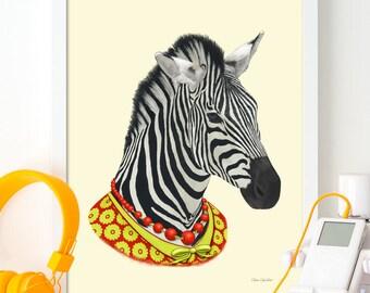 Zebra Print, Safari Animal Nursery Art, Zebra Wall Art, African Animal, Animals in Clothes, Zebra Printable, Zebra Digital Download (W0196)