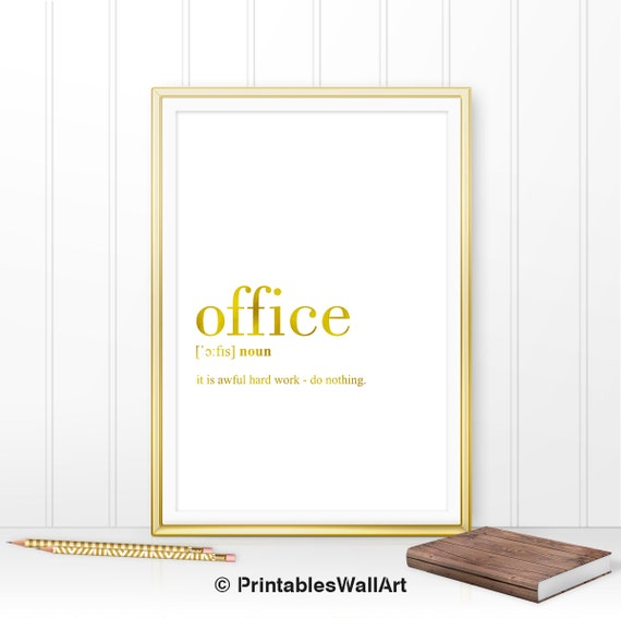 Office Definition Print Office Printable Gold Office Decor