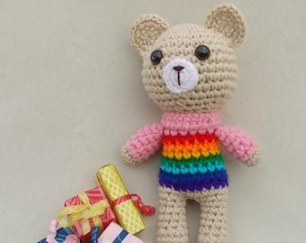 Rainbow Baby Crochet Rattle Crochet Teddy Bear New Baby Gift Baby Shower Gift Baby Rattles Crochet toy Teddy Bear Rainbow Animals Eco Toys