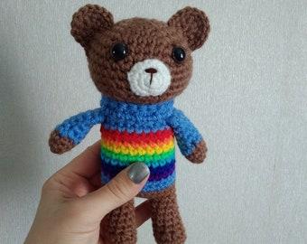 Rainbow Baby Crochet Rattle Crochet Teddy Bear New Baby Gift Baby Shower Gift Baby Rattles Crochet toy Rainbow Animals Eco Toys in Blue