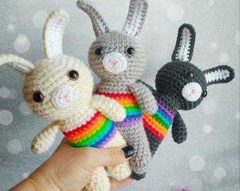 Crochet Bunny Rabbit New Baby Gift Baby Shower Gift Baby Rattle Rainbow Baby Crochet toy Bunny Rabbit Rainbow Animals Eco Toys Newborn Prop