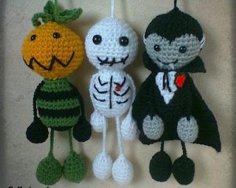 Halloween Ornaments - Pumpkin Head, Skeleton and Dracula Vampire Set of three