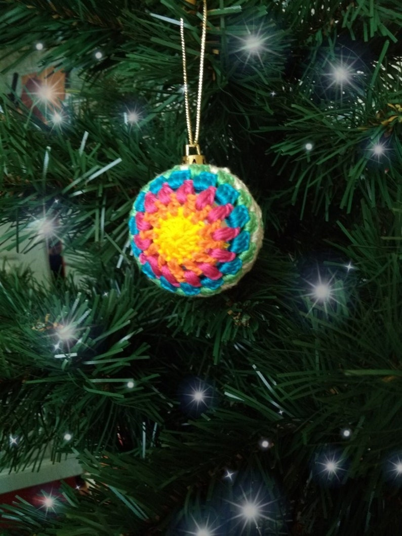 Rainbow Ornament Christmas Tree Balls Crochet Bauble Christmas Ornament Rainbow Christmas Ornament Colourful Christmas Yoga Gif