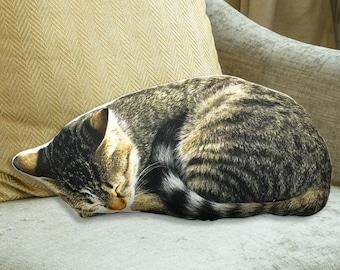 Sleeping cat pillow, animal pillow, pet pillow, cat lover gift, cat cushion, gift pillow, throw pillow, sofa pillows, shaped pillow, gift