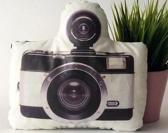 Camera pillow, plush camera, stuffed camera, photo pillow, photographer gift, camera decor, decorative pillow, camera cushion, hipster decor