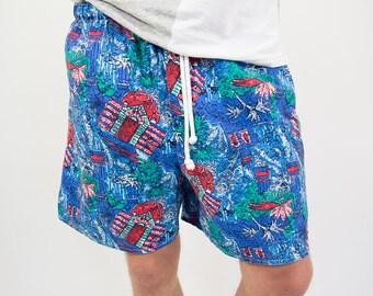 Vintage 90s swim trunks beach shorts surf shorts summer wear, men's colorful retro oldschool bathing suit swim suit size S small M medium