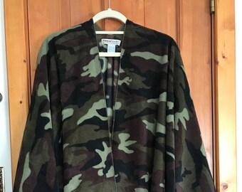 Fleece Ruana (wrap) in Green Camo print fleece, Two sizes for women, Classic print, Washable poly fleece, easy to wear, looks great
