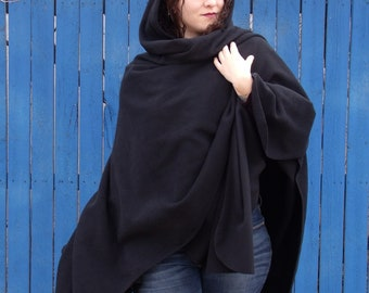 Black Fleece Ruana with Hood, Warm and soft fleece ruana with hood, one size for women, washable, easy to wear, gifts for women and teens