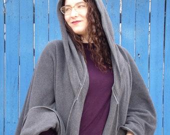 Fleece Ruana with hood, Charcoal fleece wrap with hood, Machine washable, one size for most, handmade in Santa Fe, NM