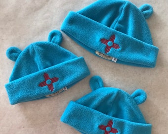Fleece Zia Bear Ears hat, Turquoise Zia Bear Ears hat, Bear Ears hat for kids and adults, Fleece Bear Ears hat, Washable, adjustable cuff