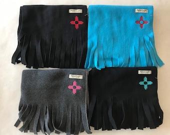 Fleece scarf with Zia embroidery, Black fleece with Turquoise Zia, Charcoal Grey with Pink Zia, Washable, Turquoise fleece with Red Zia
