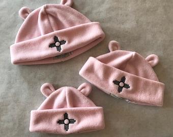 Fleece Zia Bear Ears hat, Light pink fleece Zia Bear Ears hat, Bear Ears hat for kids, Fleece Bear Ears hat, Washable, adjustable cuff