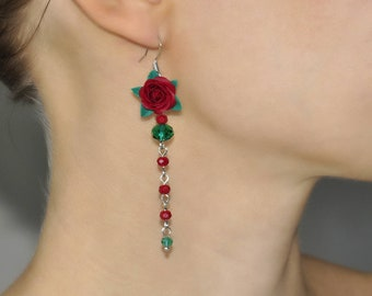 Burgundy Rose Earrings Burgundy Emerald earrings Marsala Long Earrings Burgundy Flower Earring Burgundy Girlfriend gift Marsala Rose Earring