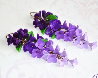 Purple earrings Purple long earrings Lilac long earrings Purple Jewelry Polymer clay earrings Purple ombre earrings Purple girlfriend gift