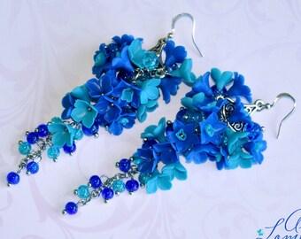 Blue turquoise earrings Blue long earrings Blue floral earrings Bright Floral long earrings Blue turquoise floral earrings  Gift for Women
