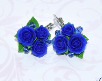 Royal blue earrings Blue rose earrings Blue flower earrings gift Blue floral earrings Navy blue earrings Blue Wife gift Blue flower jewelry