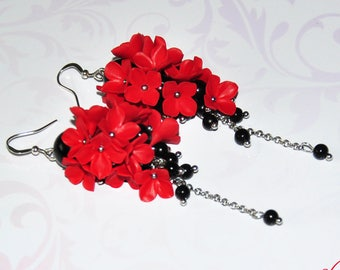 Red black earrings Red Wife gift Red floral earrings Black Red Long earrings gift Red earrings Wife gift Red statement earrings Polymer clay