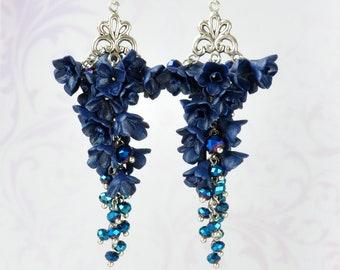 Navy Blue Earrings Dark blue earring Navy Blue long earring Evening earring Flower Jewelry Girlfriend gift Blue floral earring party earring