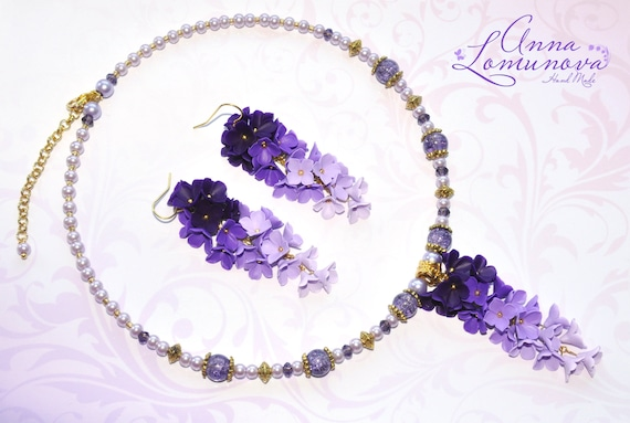 Purple Jewelry Set For Her Handmade Gift Purple Accessories Czech Glass And Ceramic Jewelry Purple Fashion Mothers Day Gift