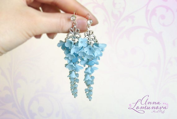 AQUAMARINE LONG EARRINGS, Sky Blue Chandelier Earrings, Victorian Bridal Earrings, Sparkly Cluster Earrings, Light Blue Swarovski Earrings
