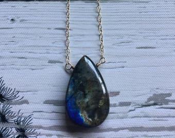 Labradorite necklace, 14k gold filled