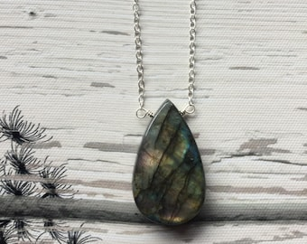 Labradorite necklace, Sterling silver