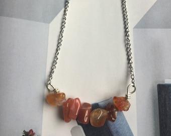 Carnelian  bar choker necklace