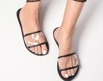 753584a9eb7ea Greek transparent leather flat slide sandals handmade | Etsy