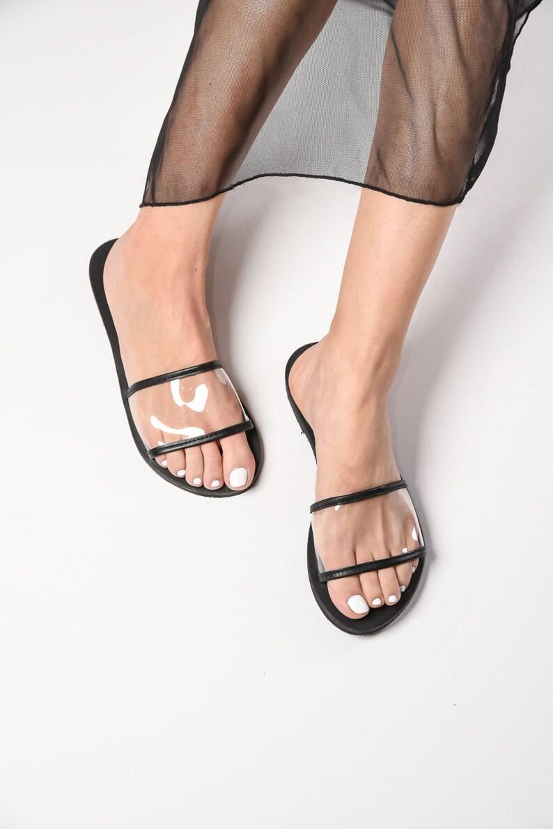 ad028be277d00 Greek transparent leather flat sandals, handmade sandals, slide sandals,  black leather sandals, minimalist slides, pvc sandals, slippers