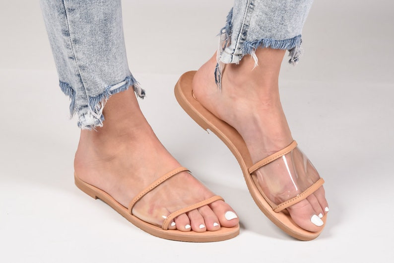 dbdd25be474d8 Greek transparent leather flat slide sandals, handmade sandals, slide  sandals, summer sandals, tan natural real leather sandals, pvc sandals