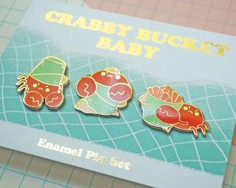 Crabby Bucket Baby Enamel Pin Set