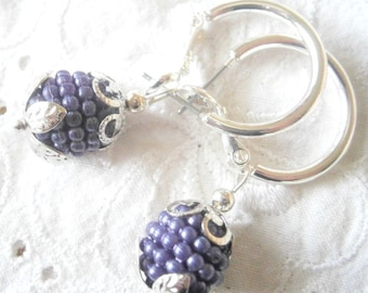 boho earrings, hoops silver plated, blackberry earrings,hoops with berry pendants,gift for her loveley earrings, hoops, gypsy earrings lilac