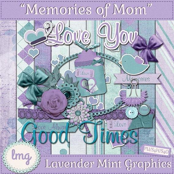 digital scrapbooking kit memories of mom mothers day etsy