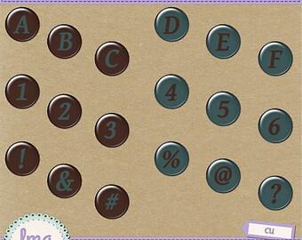 Digital Scrapbooking Alphas, Alphabet Clipart, Digital Letters, Digital Alpha, Numbers, Flairs, Alphabet, Instant Download, Commercial Use