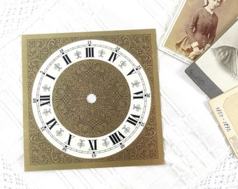Antique Clock Face - Clock Dial Face - Vintage Wall Clock Parts - Brass Clock Face - Roman Numerals Clock Face - Wall Clock Supply