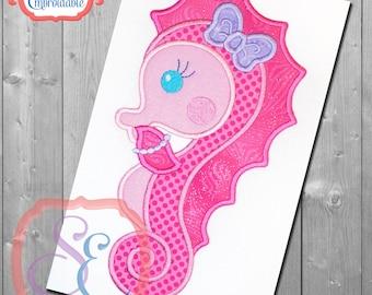 SHY SEA HORSE Girl Applique Design For Machine Embroidery