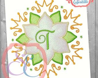Froggy Princess Frame Applique Design For Machine Embroidery INSTANT DOWNLOAD