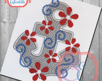 DAISY SWIRL ANCHOR Applique Design For Machine Embroidery