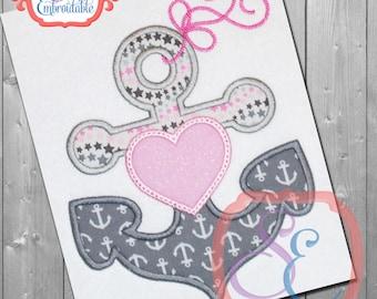 ANCHOR HEART Applique Design For Machine Embroidery