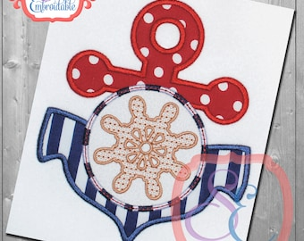 ANCHOR WHEEL Applique Design For Machine Embroidery
