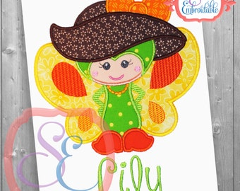 Madame Butterfly Applique Design For Machine Embroidery INSTANT DOWNLOAD