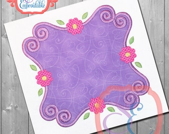 Lucy Frame Applique Design For Machine Embroidery Flowers and Swirls INSTANT DOWNLOAD