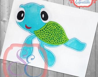 Sea Turtle Applique Design For Machine Embroidery INSTANT DOWNLOAD